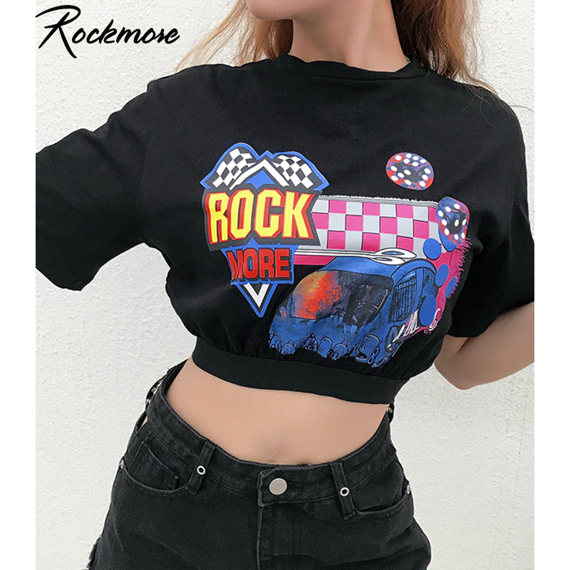 Rockmore Balck Loose Cotton T-shirt Women Short Sleeve Casual Fashion Letter Print Tshirt Female Woman Crop Top Tee Girls Summer
