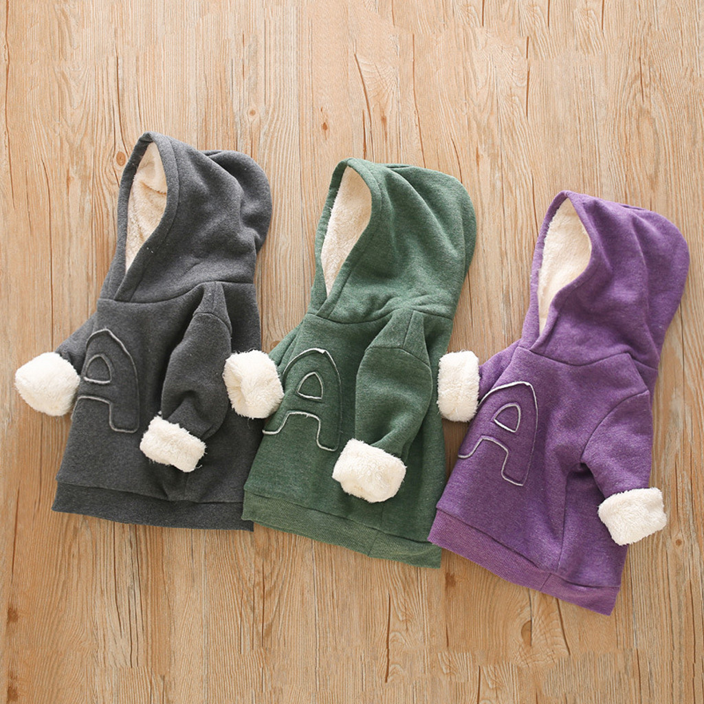 Baby Sweatshirts Hoodies Velvet Infant Boys Clothing Pullovers-Tops Winter Kids Thick title=