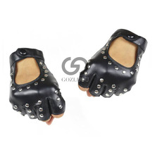 Fashion Half Finger Gloves Men Faux Leather Mittens Fingerless Tactical Women Driving