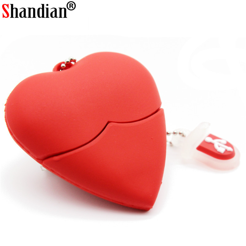 SHANDIAN Red Heart Usb Flash Drive Plastic Pendrive 4gb 16gb 32gb 64gb Usb Stick Pendriver Usb Flash Disk Thumb Drive Necklace
