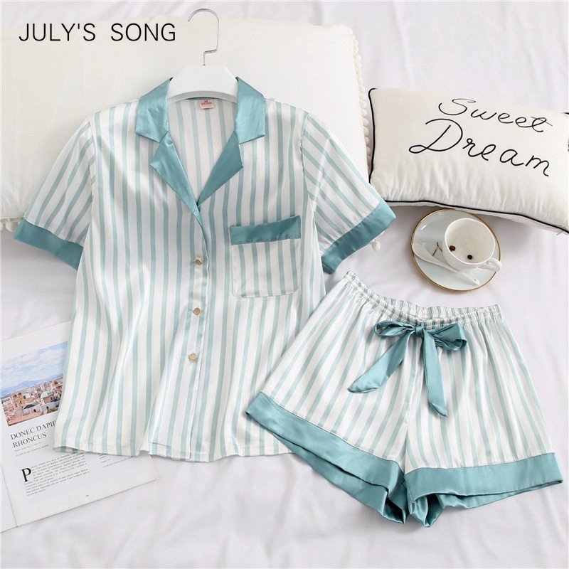 JULY'S SON Women Pajamas Set 2 Pieces Stripe Faux Silk Pajamas Suit Cute Sleepwear Short Sleeves Sleepwear Shorts For Female