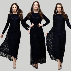 Женское кружевное мусульманское платье, длинная туника, кимоно, кафтан, хиджаб, мусульманская одежда, турецкие платья