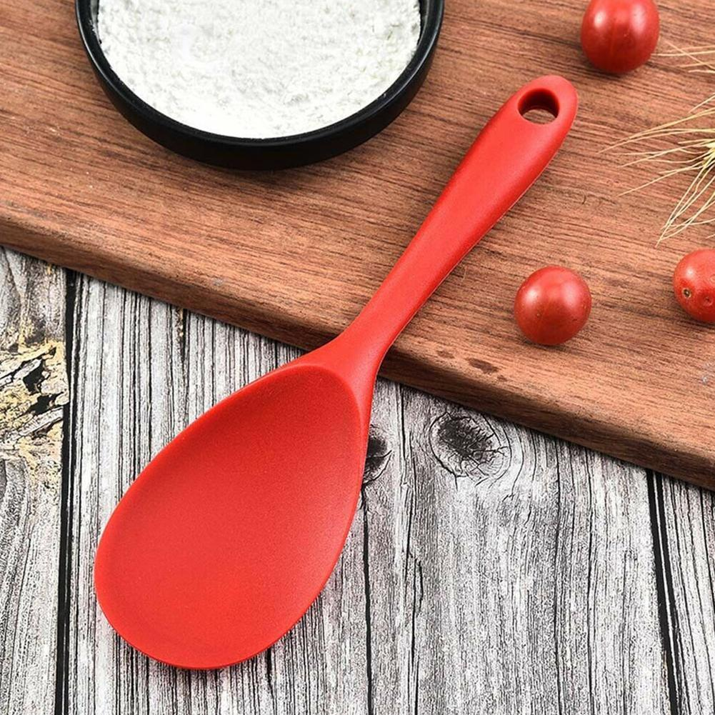 1pcs long handle rice spoon food grade silicone heat kitchen accessories resistant non-stick H3P2 cooking spoon tools rice X9Z8