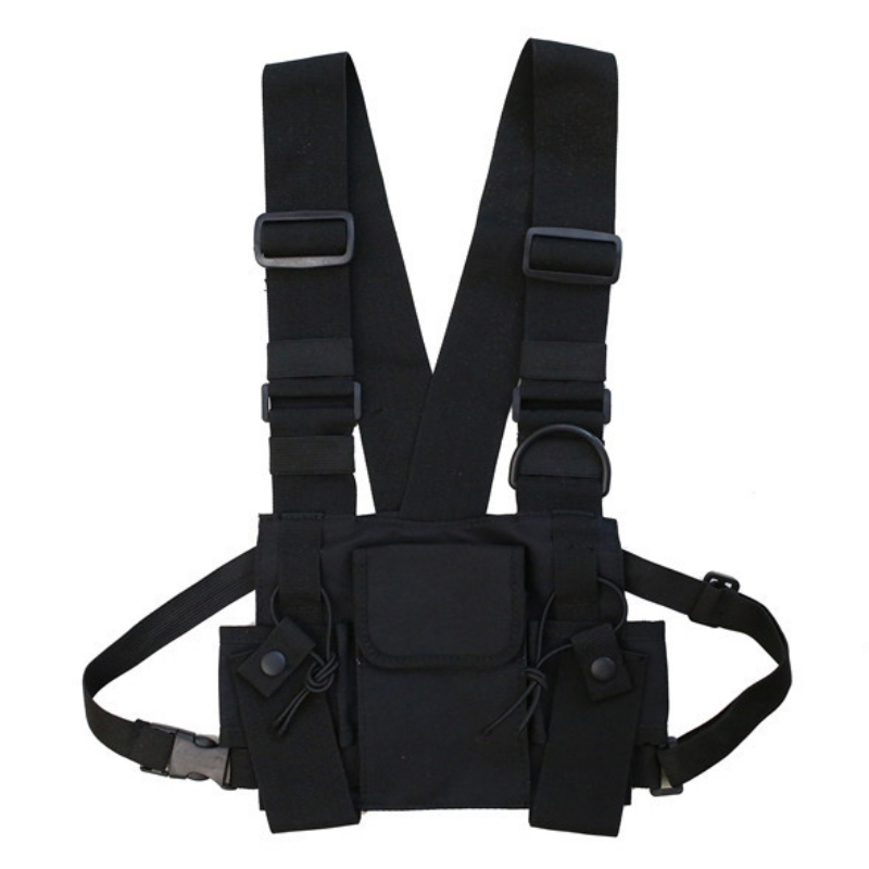 1PC Unisex Chest Rig Bag Multi pocket Vest Hip Hop Streetwear Functional Tactical Harness Chest Rig Pack Adjustable Waist Bags in Climbing Bags from Sports Entertainment