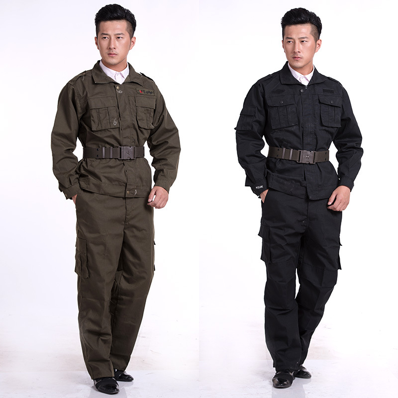 Autumn & Winter Long-sleeved Black Grid Security Staff Wear-Resistant Breathable Training Clothes Set Men's Winter Duty Work Clo