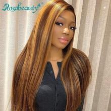 Rosbeleza glueless frente do laço perucas de cabelo humano preplucked brasileiro em linha reta peruca frontal colorida para preto feminino 30 polegada ombre
