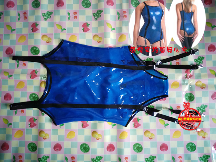 Sexy-Women-Blue-Latex-Swimsuit-Sleeveless-Rubber-Bodysuit-Jumpsuit-Aerobics-Outfit-with-Button-1