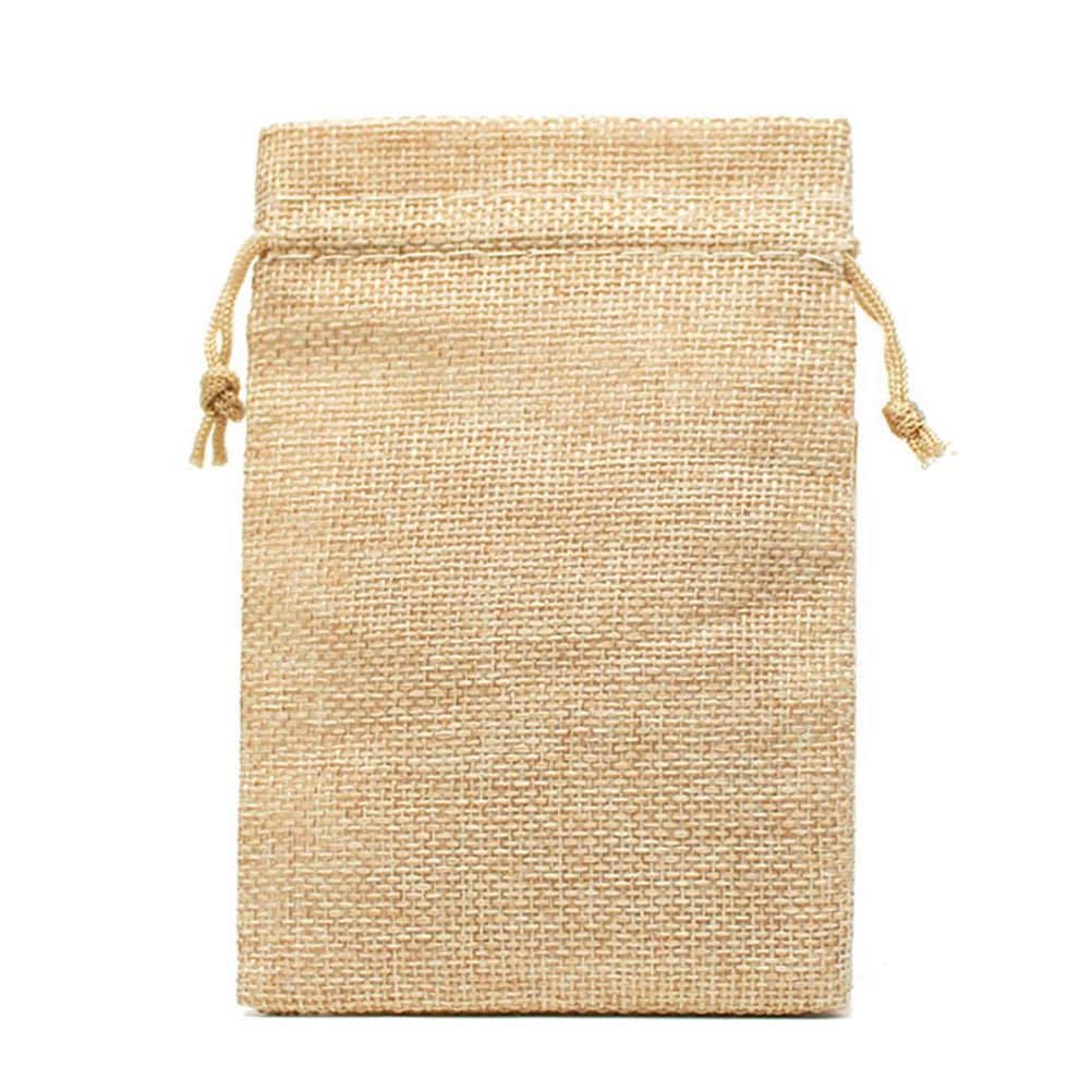 1 قطعة حقيبة الرباط خيش طبيعي الجوت حقائب للهدايا تغليف المجوهرات حقائب الزفاف النساء صغيرة محفظة نسائية للعملات المعدنية الحقيبة حقيبة التخزين