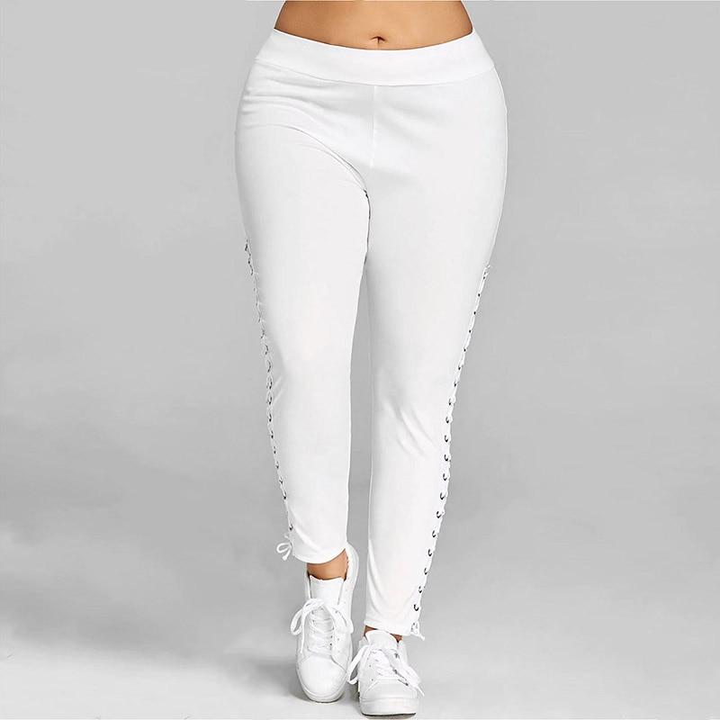 Autumn Winter Women's Leggings Casual Plus Size Cross Straps Leggings   White Black Leggings S M L XL XXL XXXL 4XL 5XL Leggings