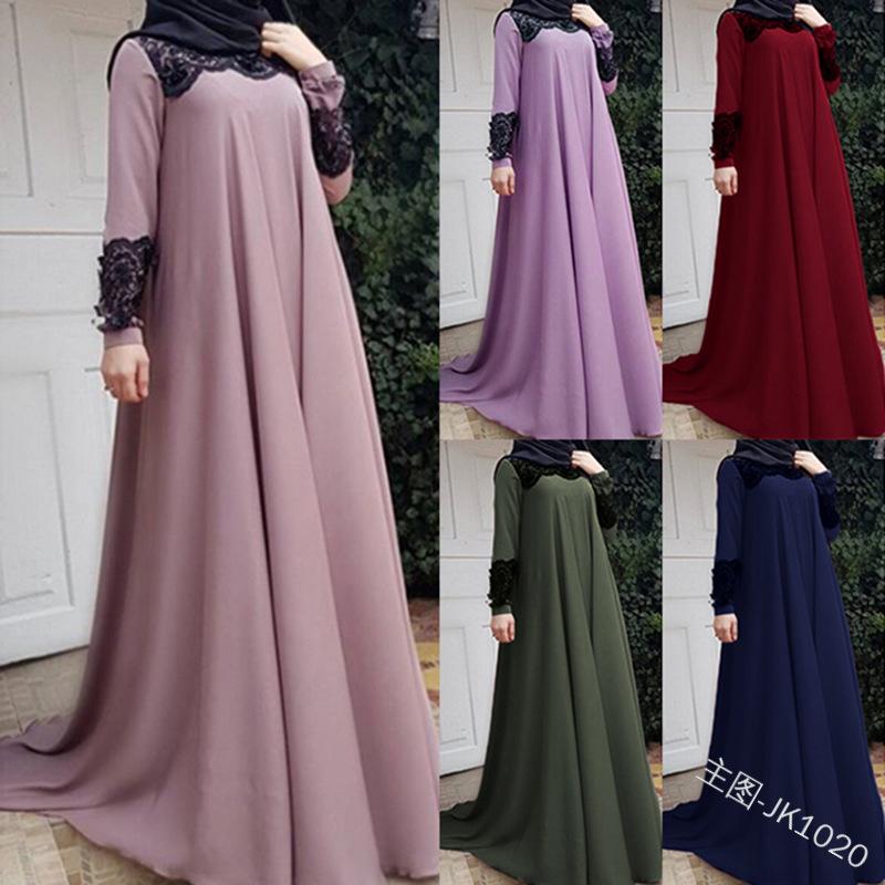 Dubai Arab Muslim Dresses Women Islam A line Big Swing Maxi Dress Splice Loose Ramadan Turkish Islamic Clothing Plus Size S 5XL