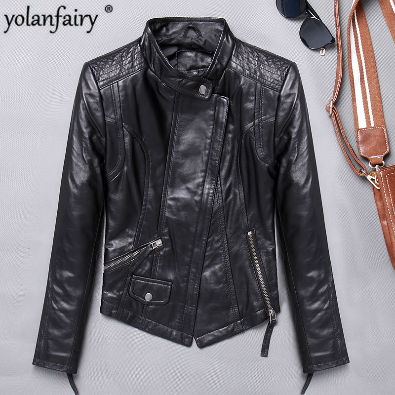 2020 Autumn Genuine Leather Jacket Women 100% Sheepskin Coat Slim Fit Biker Motorcycle Jacket Autumn Real Leather Jackets 1715