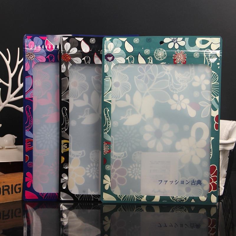 Cremallera de Color Ziplock transparente de impresión de ventana con cremallera de plástico bolsa de embalaje ropa sombrero de hueso medias Toalla de baño bufanda Pantalones
