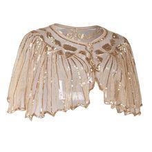 Женская шаль в европейском стиле 1920 s, винтажная шаль, блестящая, блестящая, в полоску, с бисером, прозрачная, роскошная, декоративная, вечерняя накидка, для танцев, болеро, Хлопушка, накидка