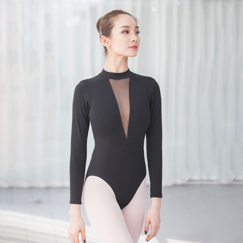 Basic Ballet Leotard For Women Sleeveless High Neck Deep V Stretch Leotards Adult Gymnastic Leotard Bodysuit Dance Wear