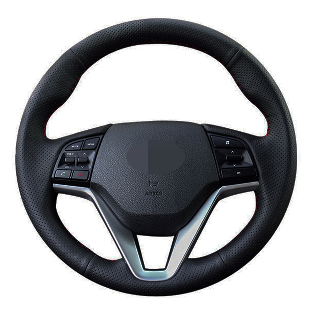 Car Steering Wheel Cover Hand-stitched Black Genuine Leather For Hyundai Tucson 3 2015 2016 2017 2018 2019