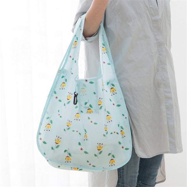 PURDORED 1 Pc Flower Shopping Bag Fordable Women Shopping Tote Bag Portable Waterproof Reusable Cloth Eco Grocery Bag Handbags 2
