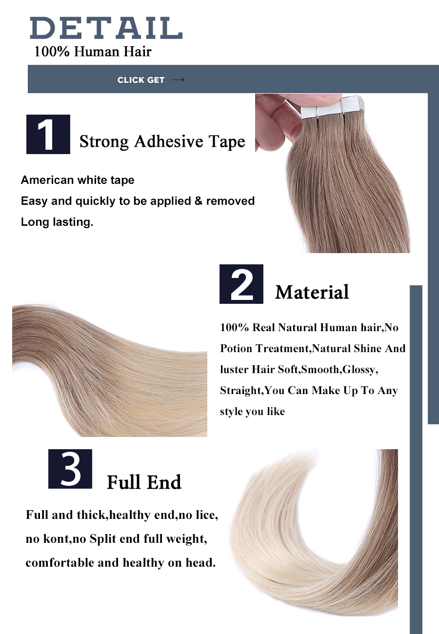Ombre Balayage Tape In Human Hair Extensions 100% Real Remy Human Hair Extensions 50g 100g Per Package Seamless Tape on Hair