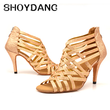 SHOYDANC Gold Glitter Gold Latin Dance Shoes Ladies High-heeled Ballroom Dance Shoes Black Party Girl Stage Performance