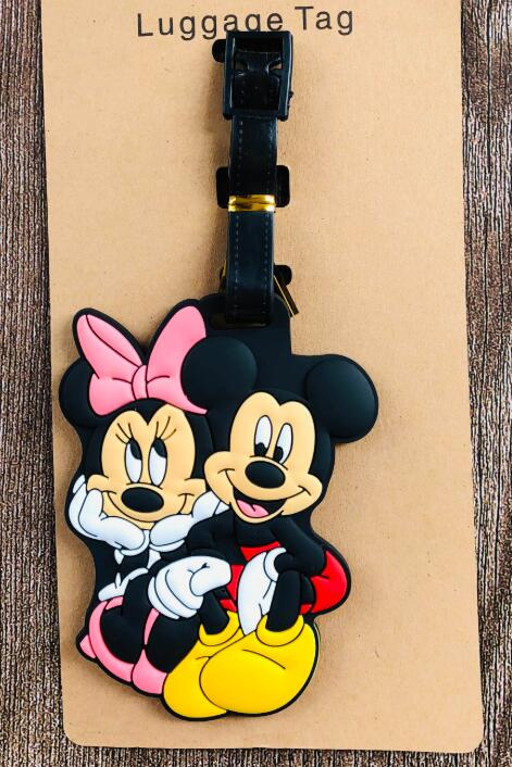 New 1pcs minnie mickey cartoon girl cute Luggage tag PVC pendants suitcase decoration keychain Card Holder kids gift image
