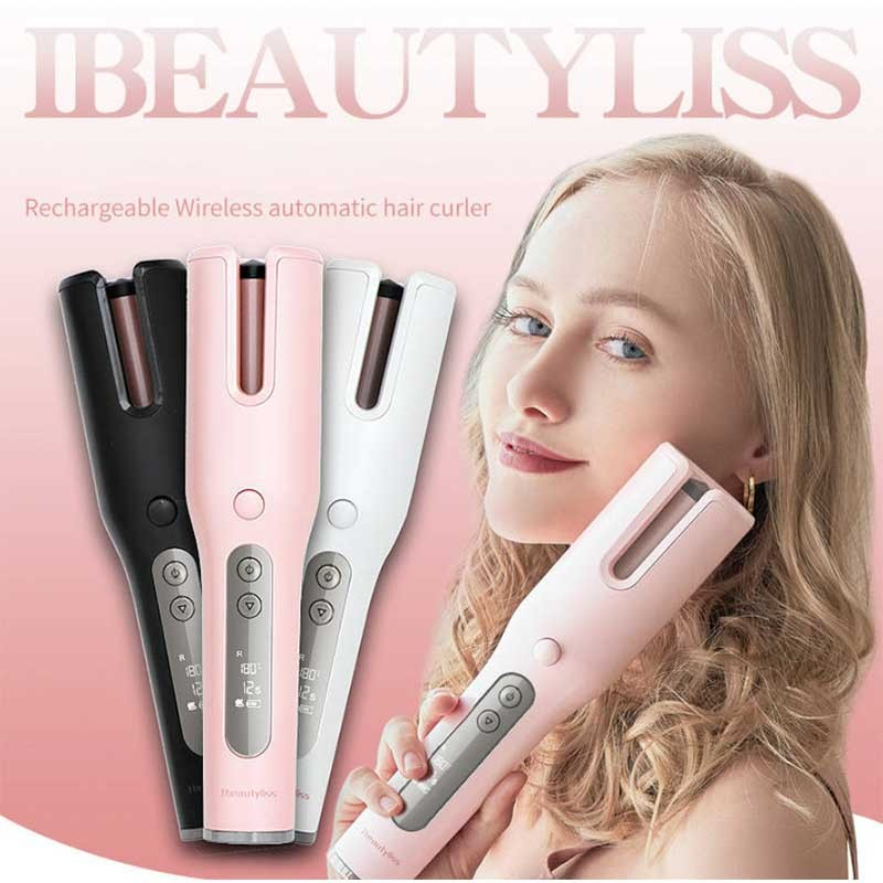 Wireless Automatic Curler Magic Curler LCD Screen Ceramic Heating Anti-scalding Wave Curler Hair Care Styling Tool USB Charging