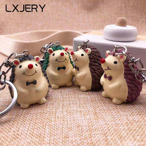 LXJERY 4 Colors Cute Cartoon Hedgehog Keychain Lovely Key Chain For Women Bag Charm Pendant Key Ring Gifts Jewelry