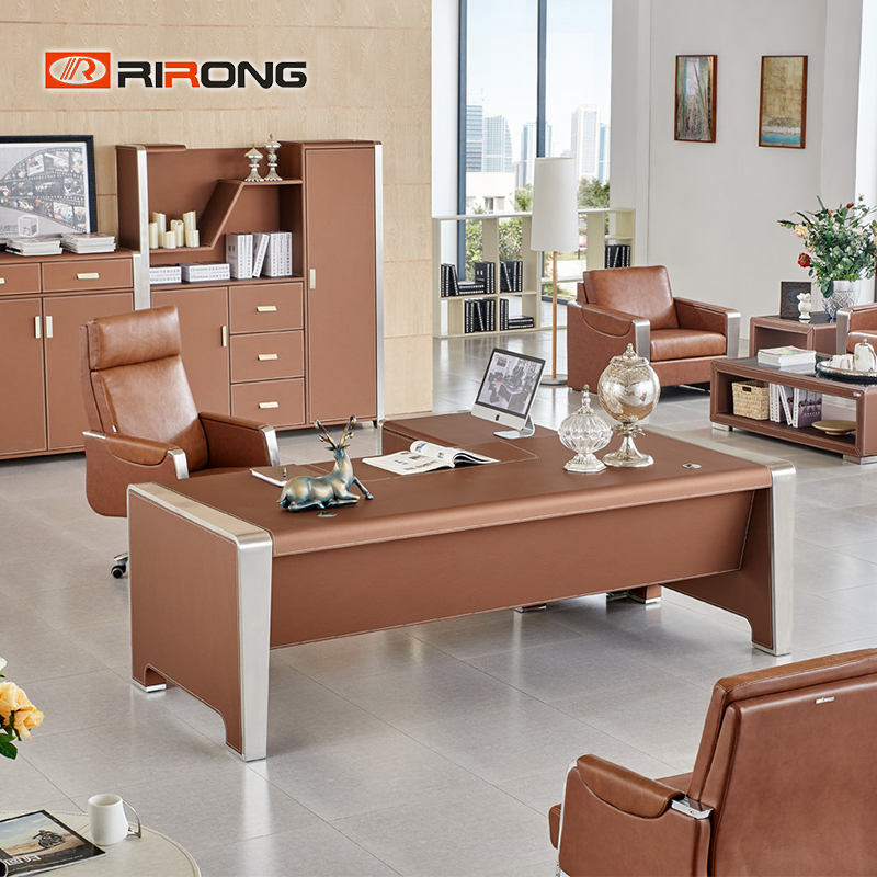 2 Meter Brown Color Luxury Leather Office Furniture  Executive Director Manager Standing Office Table Desk