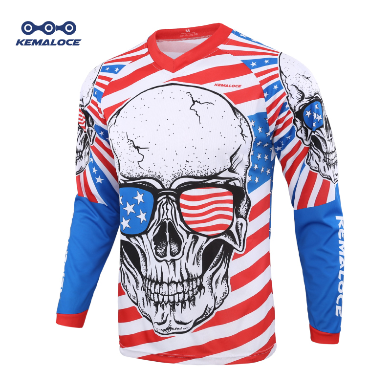 2020 Blue Full Sleeve Downhill Mtb Jersey Enduro Motocross Men USA Mountain Bike Jersey Unisex Skull BMX Downhill Shirt Tops image