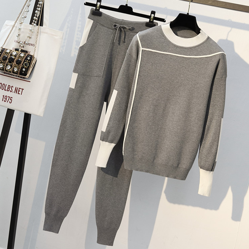 Women Knitted 2 Piece Set Casual Sportsuit O Neck Long Sleeve Pullover Sweater And Pant Set Autumn Winter 2Pcs Clothes Tracksuit