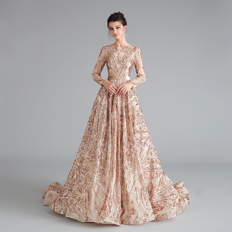 Luxury Evening Dress Lace Sequin Womens Plus Size Formal Dress Long Muslim Evening Dresses 2019 Party Long Engagement Dresses