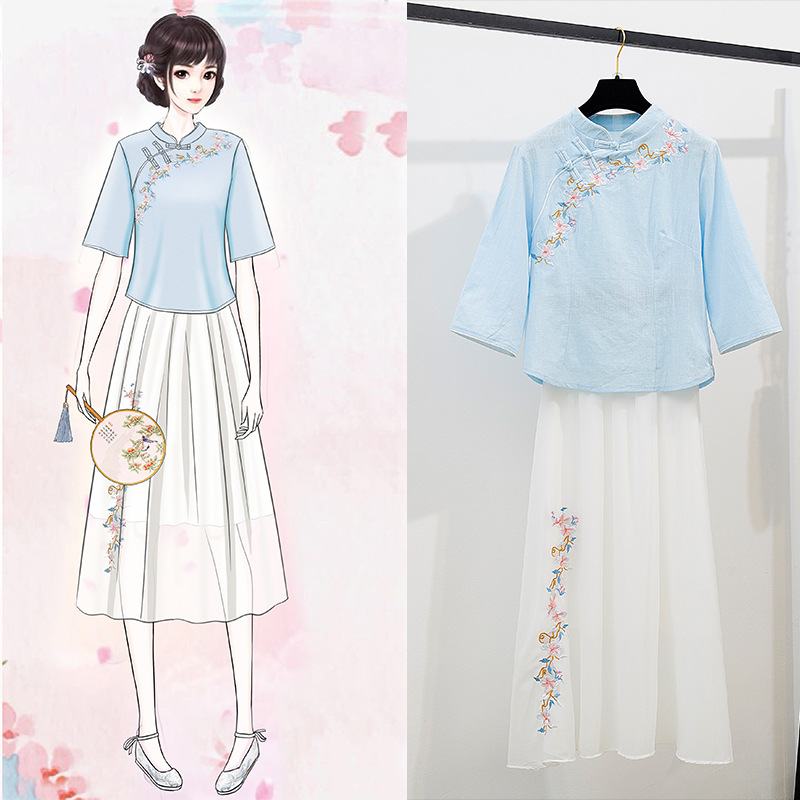Vintage Improved Literature And Art Embroidered Stand Collar Cotton Linen Breathable Tops Chiffon Swinging Skirt Set