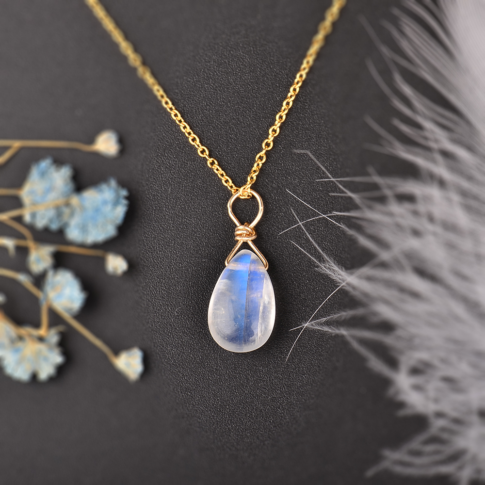 Image 4 - MosDream Natural Moonstone US 14k gold jewelry Chain Pendant Necklace Simple Elegant Jewelry for Women Romatic Gift-in Necklaces from Jewelry & Accessories