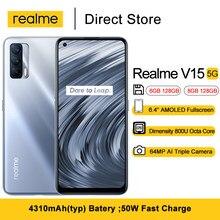 Realme V15 5G smartfony 6.4 ''AMOLED Fullscreen Dimensity 800U Octa Core 64MP potrójne kamery 4310mAh 50W szybkie ładowanie telefon komórkowy