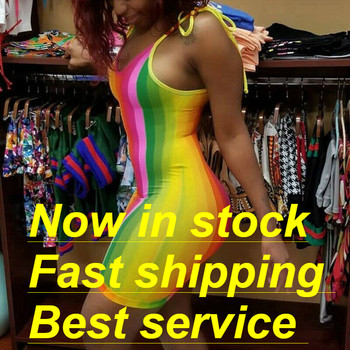 цена на Women Sexy Spaghetti Strap Tight Summer Dresses Off Shoulder Rainbow Stripe Print Mini Club Party Dress