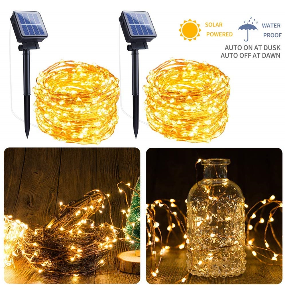 BTgeuse 100/200 LED Solar String Lights Waterproof Garland Copper Wire String Lamps Fairy Garden Patio Christmas Wedding Deco
