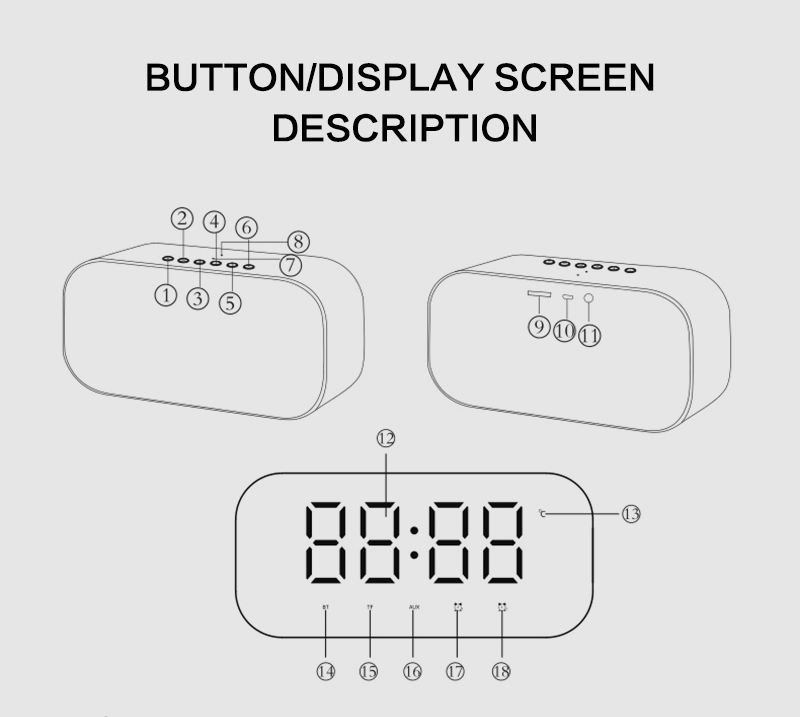 Bluetooth Mirror Alarm Clock with Speaker and FM Radio including Time and Temperature Display Useful for Listen to Music and Makeup at the Same Time 11