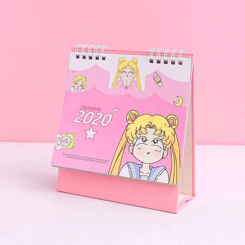 2020 Mini Sailor Moon Calendar Girls Kawaii Cosplay Accessories Anime Sailor Moon Tsukino Usagi Princess Serenity Cosplay Gift