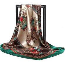 90cm Square women chiffon classic female silk scarves office ladies neckerchief