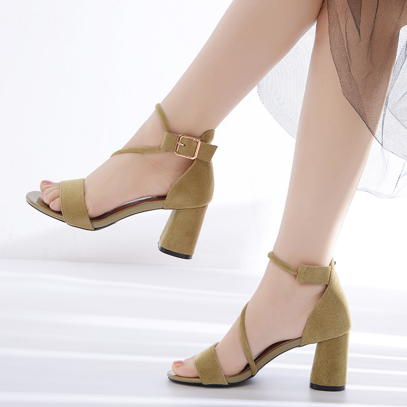 2019 New fashion <font><b>Women</b></font> Party Wedding Pumps shoes Square <font><b>heel</b></font> Comfortable Sandals <font><b>Heel</b></font> Pumps Sexy Peep Toe lady 7cm Shoes G3-<font><b>18</b></font> image