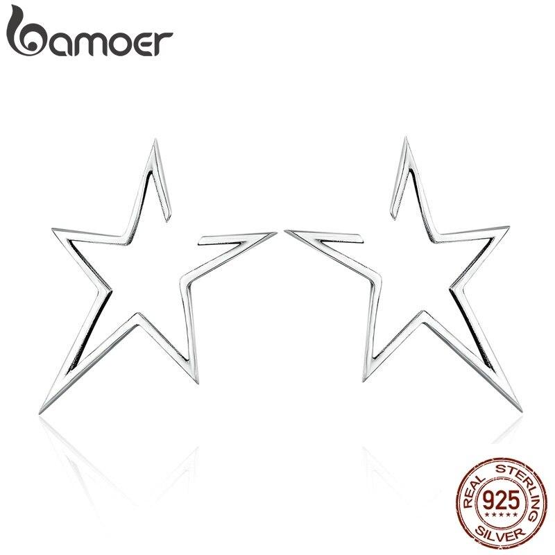 BAMOER New Arrival Authentic 925 Sterling Silver Exquisite Star Stud Earrings For Women Hyperbole Fine Jewelry Bijoux SCE107