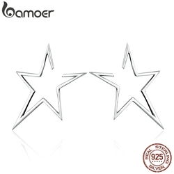 BAMOER New Arrival Authentic 925 Sterling Silver Exquisite Star Stud Earrings for Women Hyperbole Fine Jewelry Bijoux SCE107