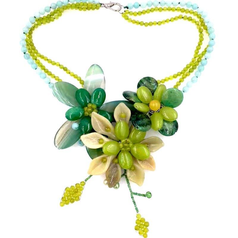 2018 luxe vert Jades cristal Jaspers fleur collier ras du cou Boho fête bijoux femme