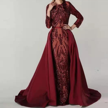 Burgundy Sequined Full Sleeved Evening Party Dress Floor Length O Neck Ball Gown