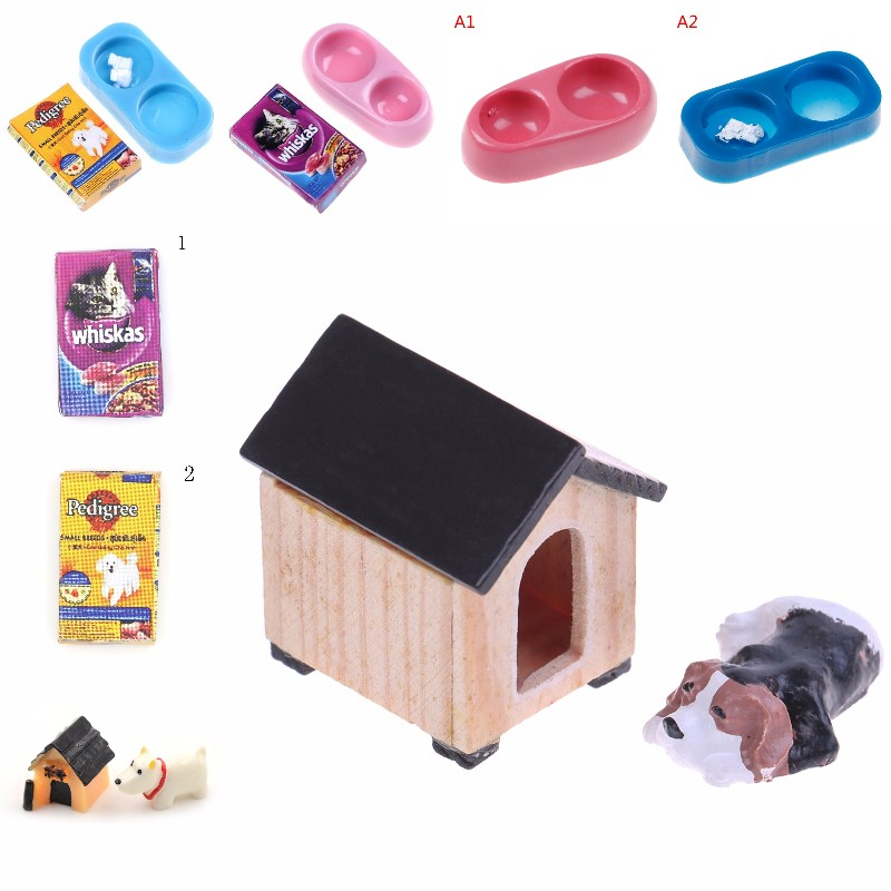 1/12 Dollhouse Miniature Mini Dog Cat Pet Food With Plate Simulation Furniture Model Toys For Doll Accessories Decoration