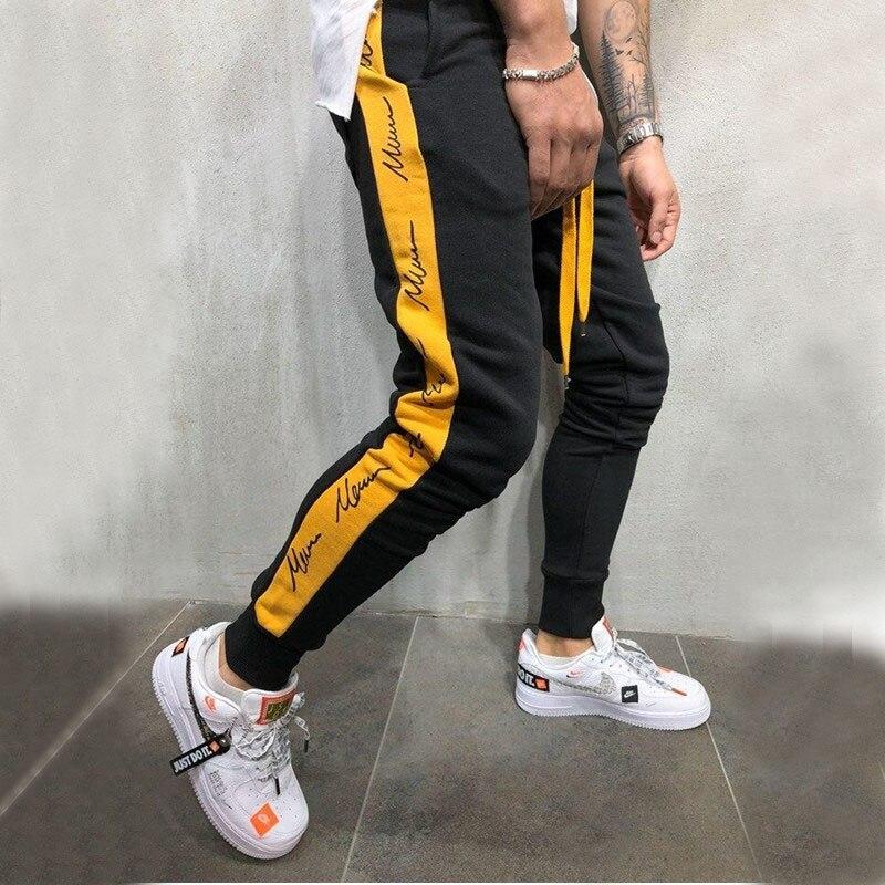 Fashion Streetwear Sweatpants For Men Causal Gym Slim Fit Sportswear Pants Black White Trendy Male Hip Hop Sweatpants Trousers