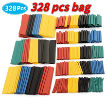 328pcs / set Car Electrical Cable Tube Kits, Polyolefin Heat Shrink Tube 8 Sizes Mixed Color, Sheathed wire for electric cables
