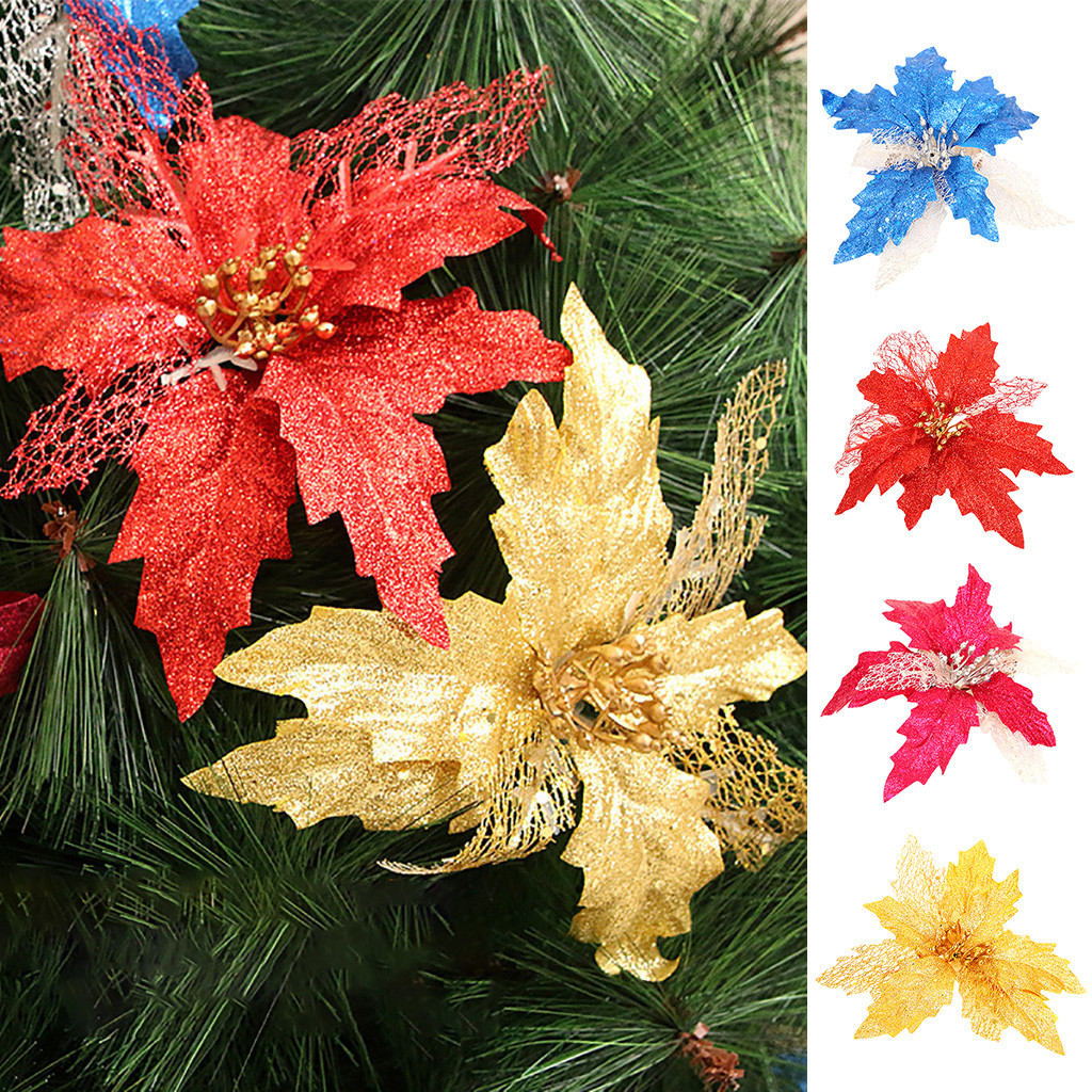 Christmas Flower Decorations.Us 0 16 20 Off 1pc Artificial Christmas Flowers Glitter Fake Flowers Merry Christmas Tree Decorations For Home 2020 Gift Xmas Ornament 1020 On