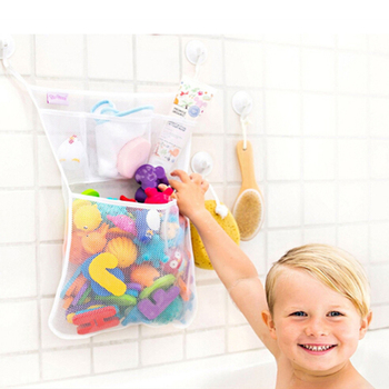 Baby Shower Bath Toys White Kids Toy Storage Mesh with Strong Suction Cups Bag Net Bathroom Organizer
