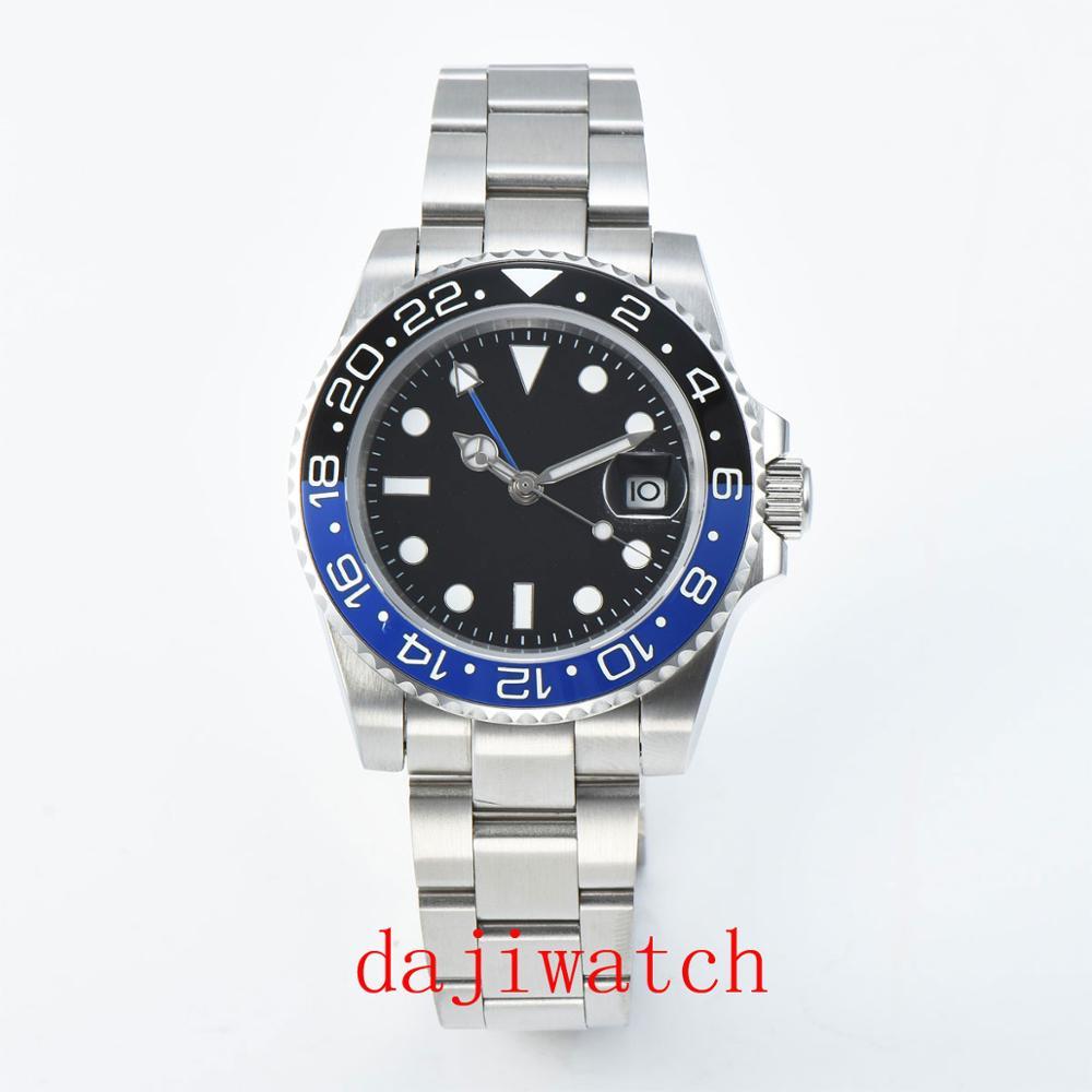 40mm PARNIS preto cadran luminosa safira moldura de cerâmica GMT relógio dos homens automáticos de Luxo Da Marca haut relógio Mecân