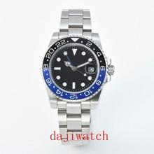 40mm stérile cadran noir saphir lumineux lunette en céramique GMT automatique montre pour hommes marque de luxe haut montre mécanique
