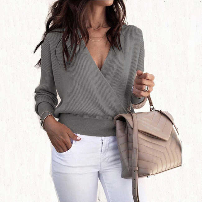 2020 가을 탑과 풀오버 여성용 긴 소매 니트 스웨터 V 넥 크로스 랩 스웨터와 풀오버 패션상의